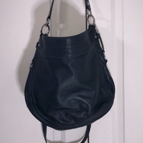 Coach Black Hobo Purse - leather